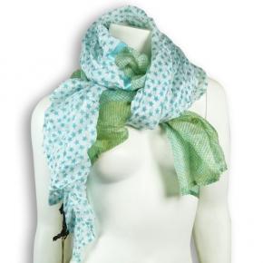 Ahmaddy Seiden-Schal Patchwork Aqua-green