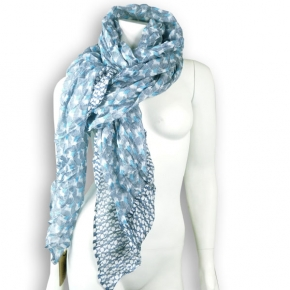 Ahmaddy Seidenschal in in blau-weißen Mustern