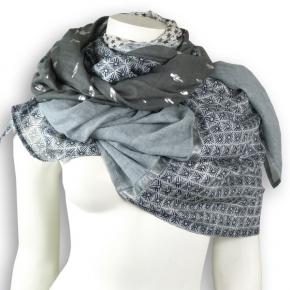 Ahmaddy Seide-Baumwolle Tuch Quadrato grey-white