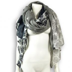 Ahmaddy Seide-Baumwolle Tuch Quadrato schwarz-silber-grau
