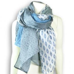 Ahmaddy Seiden-Baumwolltuch Quadrato bleu