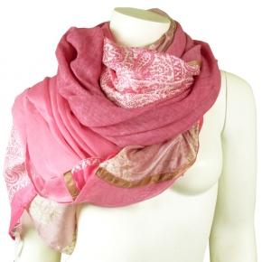 Ahmaddy Seiden-Baumwolltuch Quadrato rose-fuchsia