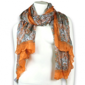 Ahmaddy Seidenschal Paisley orange-grau