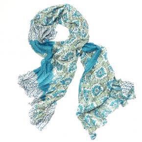 Ahmaddy Seiden-Schal Patchwork Petrol-Blue