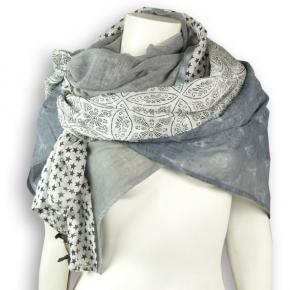 Ahmaddy Seide-Baumwolle Tuch Quadrato grey-grey