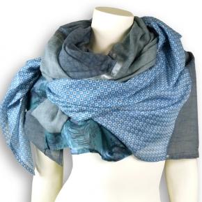 Ahmaddy Seiden-Baumwolltuch Quadrato Blue