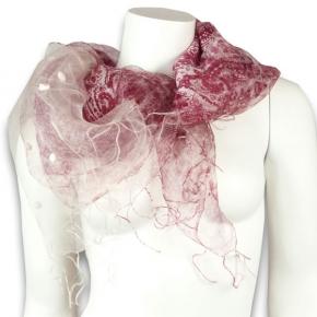 Ahmaddy Schal mit Wolle und Seide weinrot