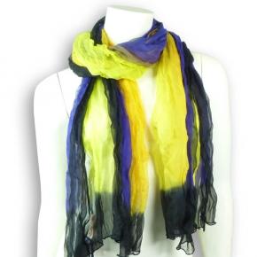 Ahmaddy Seidenchiffon-Schal mit violett und gelb