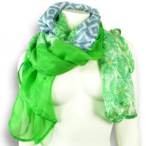 Ahmaddy Seiden-Modal Patch-Tuch grün-blau
