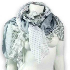 Ahmaddy Seiden-Baumwolltuch Quadrato - elegante Grautöne