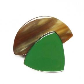 "Stephisimo Horn-Brosche ""Craft Art""  grün"