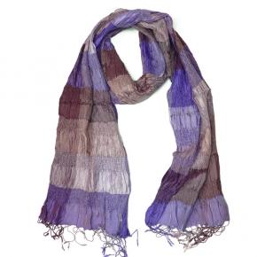 Djian Seidenschal gesmokt in violett