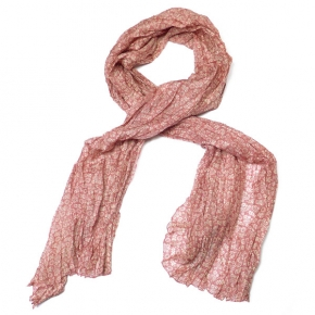 Djian Seidenschal Blumen- und Blättermuster rosa