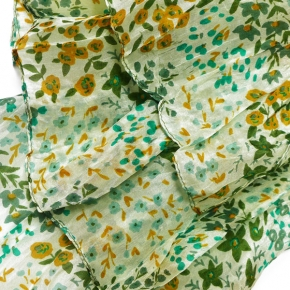 Djian Seidenschal Streublumen in grün-curry-salbei