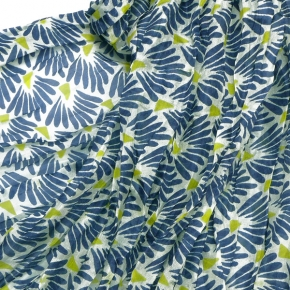 Djian Seidenschal blau mit stilisierten Muscheln
