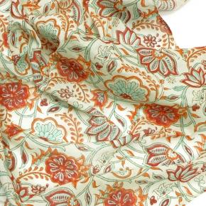 Djian kleines Bio-Baumwolltuch türkis-orange