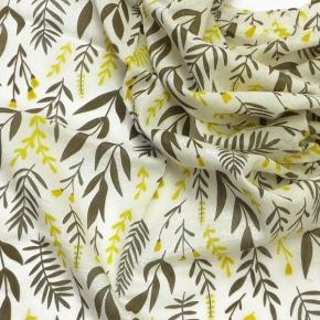 Djian kleines Bio-Baumwolltuch Kräuter taupe-gelb