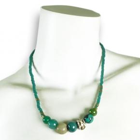 Djian Kette mit Halbedelstein-Perlen in Petrol