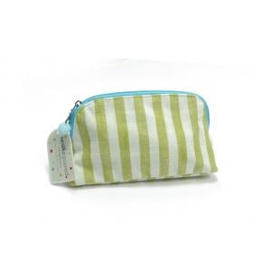 Clutch oder Kosmetiktasche aus Leinen mit grünen Streifen