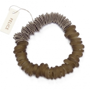 Felice Armband aus Edelstahl und Muranoglasringe
