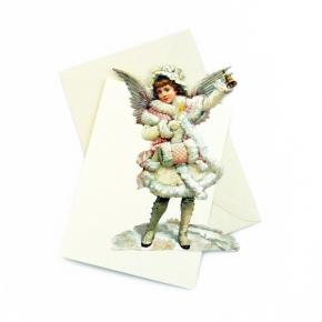 Weihnachtsengel mit Muff Karte zum Aufstellen von E. Freihoff