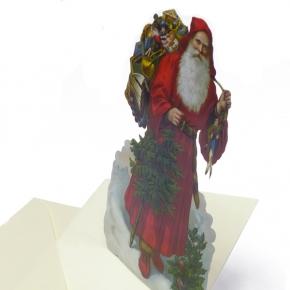 Nostalgie Karte roter Weihnachtsmann