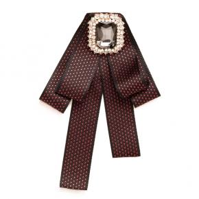 Textilschleife rubin-blau zum Anstecken mit grauem Schmuckstein