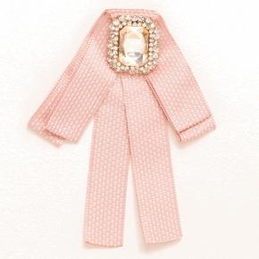 Textilschleife rose-weiß zum Anstecken mit lachsfarbenem  Schmuckstein