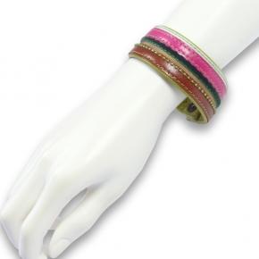 Lederarmband pink-braun von pepina peculiar Gr.L
