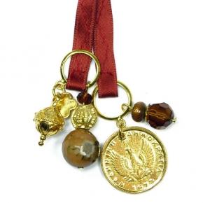 LUMISHA Satinbandkette mit verschiedenen Anhängern ziegel/gold