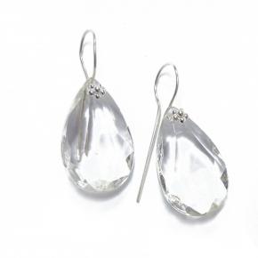 Ohrhänger aus Kristallglas und Silberblüte