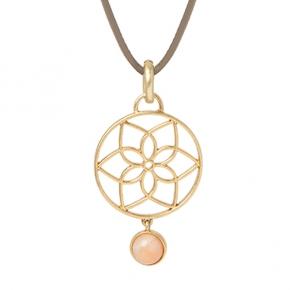 Sence Copenhagen Mindfulness Halskette Leder mit gold und rosé Aventurin