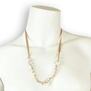 Lumisha feine Perlenkette mit Satinband nude rose