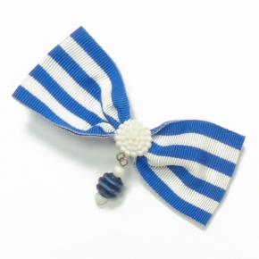 Ripsschleife zum Anstecken dunkelblau-weiß