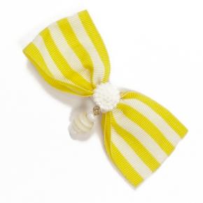 Ripsschleife zum Anstecken gelb-weiß