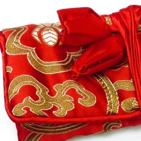 Schmuckrolle klein aus Seide in rot-gold