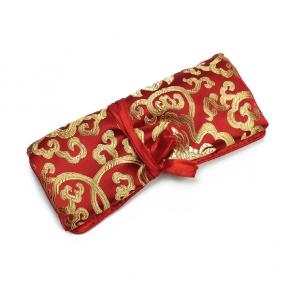 Schmuckrolle aus bestickter Seide in rot
