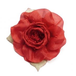 Ansteck-Rose Seide rot von Heinz Müller