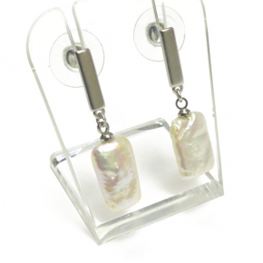 Stephisimo Ohrstecker Freshwater-Pearls Rechteck silber