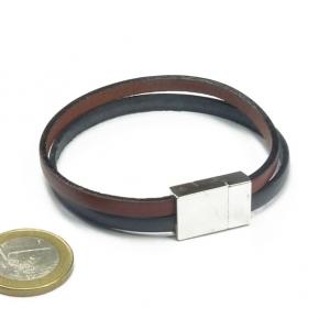 Stephisimo Armband aus Leder zweifarbig grau-braun