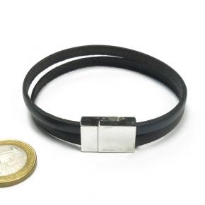 Stephisimo Armband aus Leder zweifarbig grau-schwarz