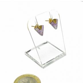 Stephisimo Ohrstecker Dreieck Gold mit Amethyst