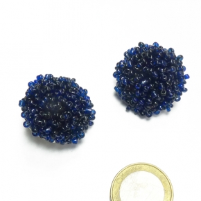 Stephisimo Ohrclips Rocaille Perlen in dunkelblau