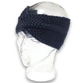 Strick-Stirnband Perlmuster schwarz von rotlilie