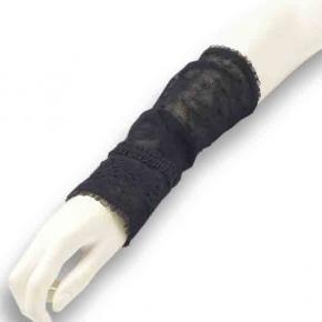 Tüllstulpen schwarz mit Tupfen aus Leinen