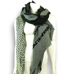 Ahmaddy Wollschal Quadrato grau-schwarz mit Pailletten