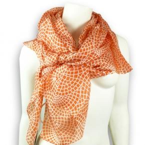 Ahmaddy Seidenschal in orange mit grafischem Muster