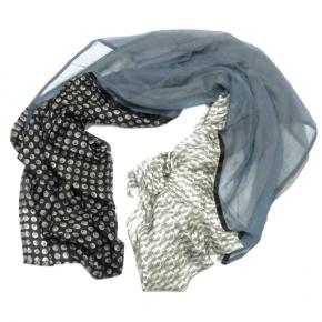 Ahmaddy Seiden-Baumwoll Quadrato Tuch black-grey
