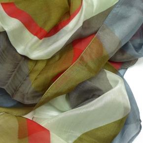 Ahmaddy Seiden-Modalschal in rot-grau Mustermix