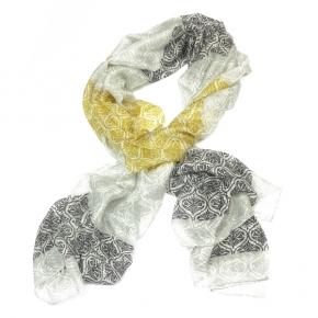 Ahmaddy Seidenschal gelb-grau-schwarz